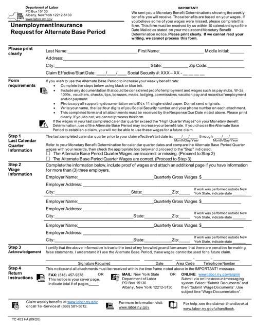 Form TC403 HA Printable Pdf