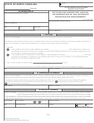 "Form AOC-CR-259 ""Petition and Order for Judicial Determination of Sex Offender Registration Requirement"" - North Carolina"