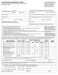 """Form SFN2932 """"Application for Dealer's License"""" - North Dakota"""
