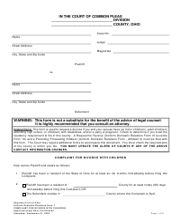 "Uniform Domestic Relations Form 7 ""Complaint for Divorce With Children"" - Ohio"