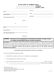 "Uniform Domestic Relations Form 8 ""Counterclaim for Divorce Without Children"" - Ohio"