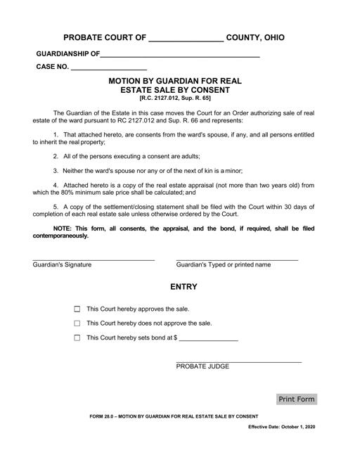 Form 28.0  Printable Pdf