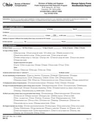 "Form SH-12 (BWC-6611) ""Sharps Injury Form - Needlestick Report"" - Ohio"