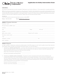 """Form SH-53 (BWC-6683) """"Application for Safety Intervention Grant"""" - Ohio"""