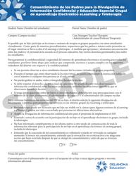 """""""Consentimiento De Los Padres Para La Divulgacion De Informacion Confidencial Y Educacion Especial Grupal De Aprendizaje Electronico Elearning Y Teleterapia"""" - Oklahoma (Spanish)"""