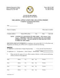 "Section 2 ""Oklahoma Application for a Blasting Permit"" - Oklahoma"