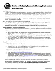 "Form MJ18-2207 ""Producer Medically Designated Canopy Registration"" - Oregon"