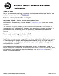 "Form MJ17-1010 ""Marijuana Business Individual History Form"" - Oregon"