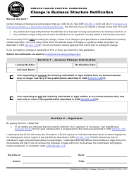 "Form MJ16-8070 ""Change in Business Structure Notification"" - Oregon"