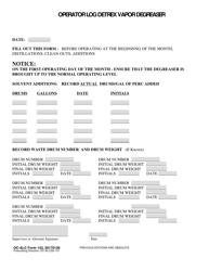 "OC-ALC Form 143 ""Operator Log Detrex Vapor Degreaser"""