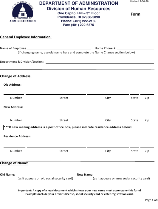 """Change of Address, Name and Marital Status Form"" - Rhode Island Download Pdf"
