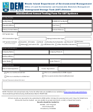 """""""Standardized Annual Testing Form for Ust Systems"""" - Rhode Island"""
