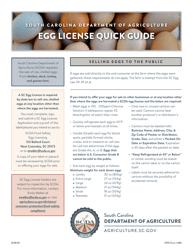 """CPD Form 461 """"Application for South Carolina Egg License"""" - South Carolina"""