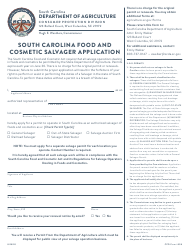 "CPD Form 598 ""South Carolina Food and Cosmetic Salvager Application"" - South Carolina"