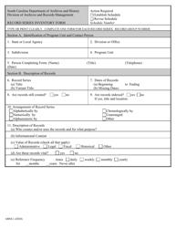 """Form ARM-1 """"Record Series Inventory Form"""" - South Carolina"""