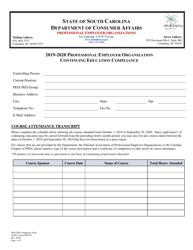 "SCDCA Form PEO-05 ""Professional Employer Organization Continuing Education Compliance"" - South Carolina, 2020"