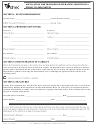"DHEC Form 1329 ""Application for Transfer of Operating Permit for a Public Water System"" - South Carolina"