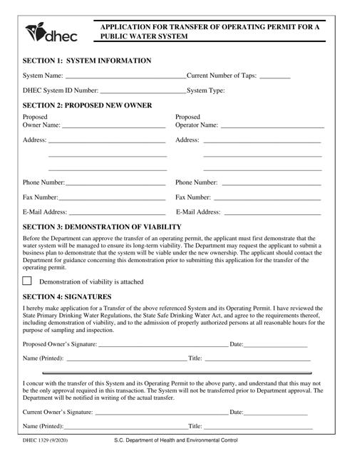 DHEC Form 1329 Printable Pdf