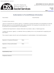"""Form DSS-EA-208 """"Authorization to Furnish/Release Information"""" - South Dakota"""
