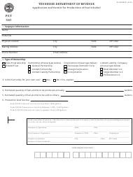 "Form PET367 (RV-R0008201) ""Application and Permit for Production of Fuel Alcohol"" - Tennessee"