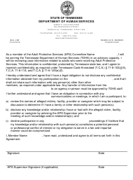 "Form HS-3468 ""Aps Confidentiality and Nondisclosure Agreement Letter"" - Tennessee"