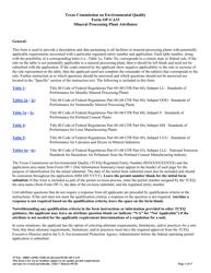 "Form OP-UA33 (TCEQ-10085) ""Metallic Mineral Processing Plant Attributes"" - Texas"