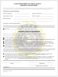 "Form DLD266 ""Request for Records"" - Utah"
