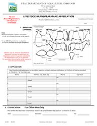 """Form AG-801 """"Livestock Brand/Earmark Application"""" - Utah"""