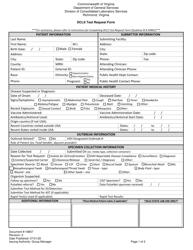"Form 16857 ""Dcls Test Request Form"" - Virginia"