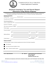 """Form T-WAV-003 """"Employer Quarterly Tax and Payroll Report Electronic Filing Waiver Request"""" - Virginia"""