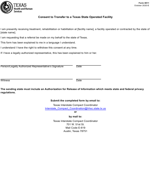 Form 0011  Printable Pdf