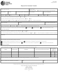 """Form 0012 """"Request for Interstate Transfer"""" - Texas"""