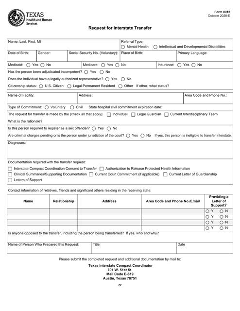 Form 0012  Printable Pdf