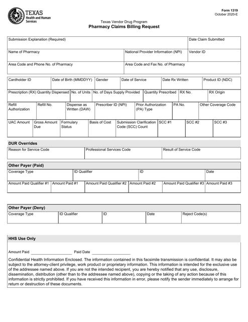Form 1319 Printable Pdf