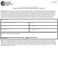 """Form 2362 """"Receipt Certification by a Qualified Rehabilitation Professional"""" - Texas"""