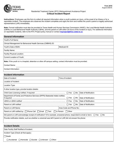 Form 2818  Printable Pdf