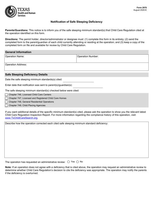 Form 2970  Printable Pdf