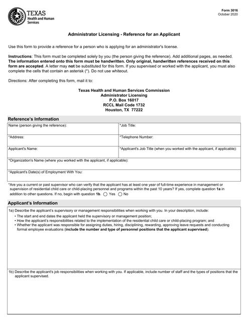 Form 3016 Printable Pdf