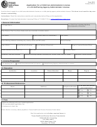 """Form 3015 """"Application for a Child Care Administrator License or a Child-Placing Agency Administrator License"""" - Texas"""