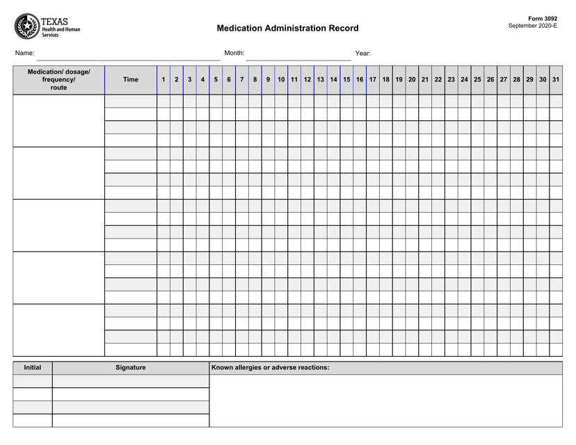 Form 3092  Printable Pdf