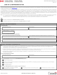 "Form IMM5476 ""Use of a Representative Form"" - Canada"