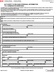 "Form IMM5475 ""Authority to Release Personal Information to a Designated Individual"" - Canada"