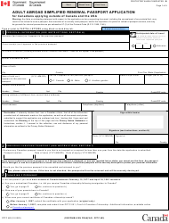 "Form PPTC482 ""Adult Abroad Simplified Renewal Passport Application for Canadians Applying Outside of Canada and the Usa"" - Canada"