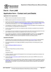 "Form LA00 Part A ""Application Form - Contact and Land Details"" - Queensland, Australia"