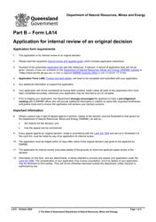 "Form LA14 Part B ""Application for Internal Review of an Original Decision"" - Queensland, Australia"