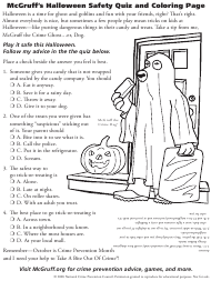 """Mcgruff's Halloween Safety Quiz and Coloring Page - National Crime Prevention Council"""