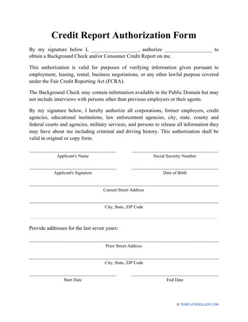 """Credit Report Authorization Form"" Download Pdf"