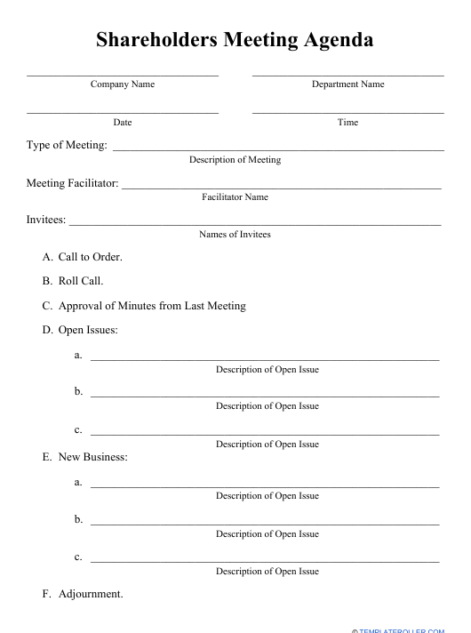 """Shareholders Meeting Agenda Template"" Download Pdf"