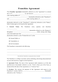 """""""Franchise Agreement Template"""""""