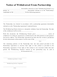 """""""Notice of Withdrawal From Partnership Template"""""""